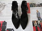 Комфортные туфли Limoda из натуральной замши босоножки на каблуке 6 см черные, фото 7