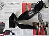 Комфортные туфли Limoda из натуральной замши босоножки на каблуке 6 см черные, фото 8
