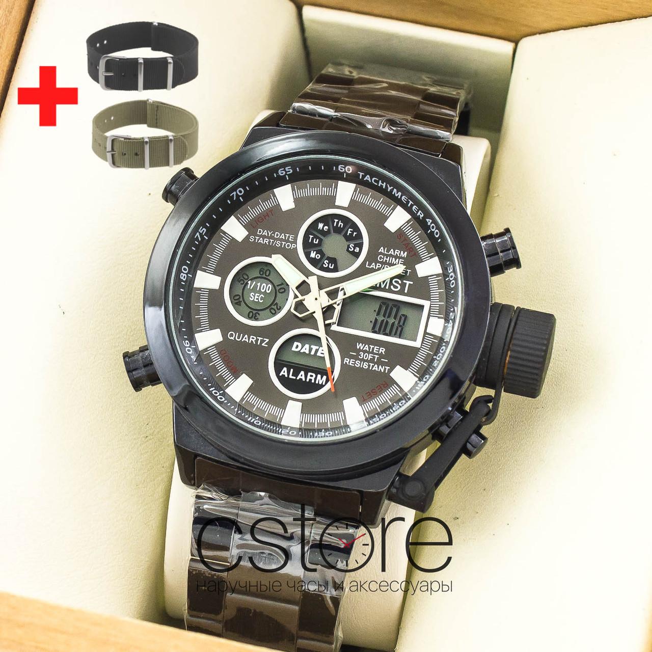 9b58661ffd55 Мужские армейские наручные часы Amst black black am3003 на браслете (07482)