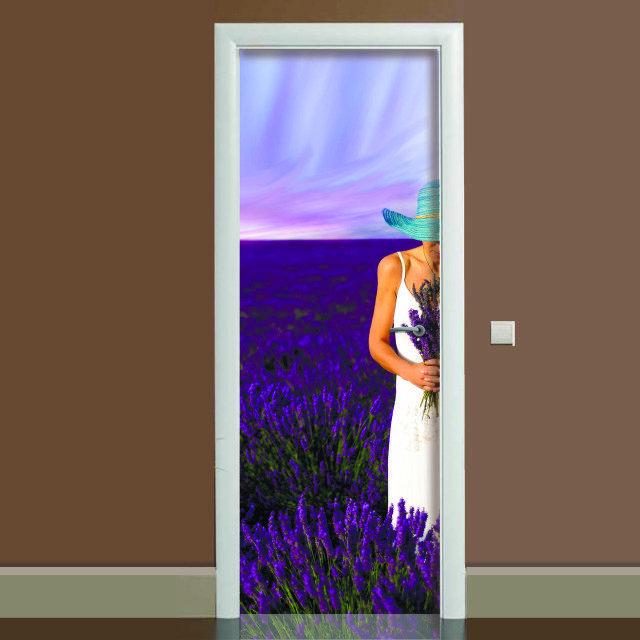 Наклейка на дверь Лаванда, (полноцветная фотопечать, пленка для двери)