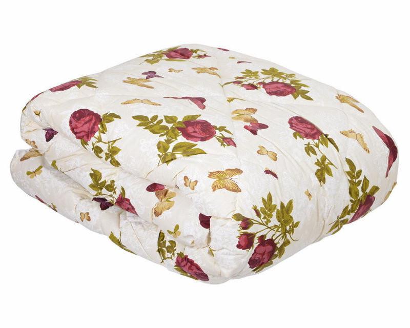 Закрытое одеяло с овечьи шерсти + бязь з цветочным принтом по низким ценам, фото 1