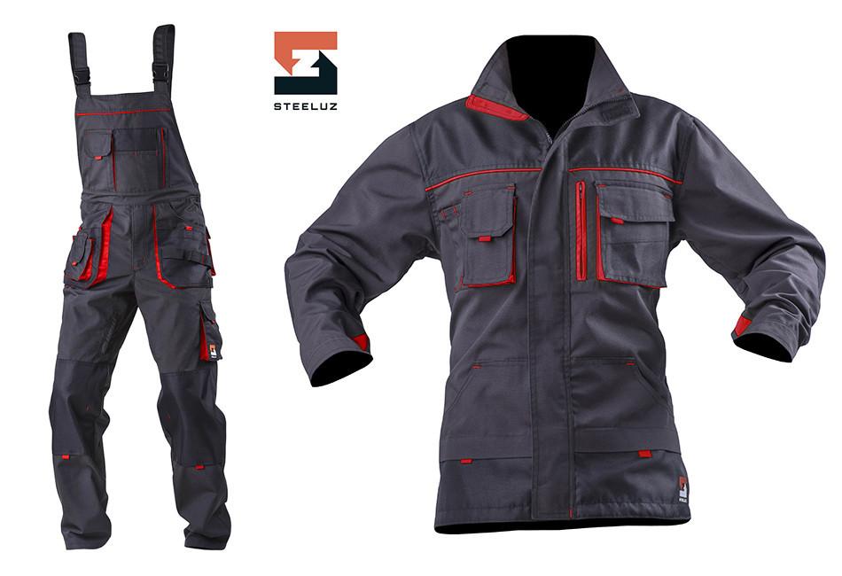 Костюм рабочий защитный SteelUZ куртка и полукомбинезон, красная отделка