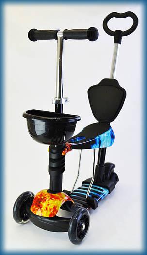 Самокат с сиденьем и родительской ручкой от 4 лет Best scooter, светящиеся колеса PRINT Огонь и лед