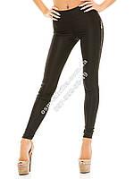 Женские классические лосины леггинсы с замками по бокам черные, фото 1