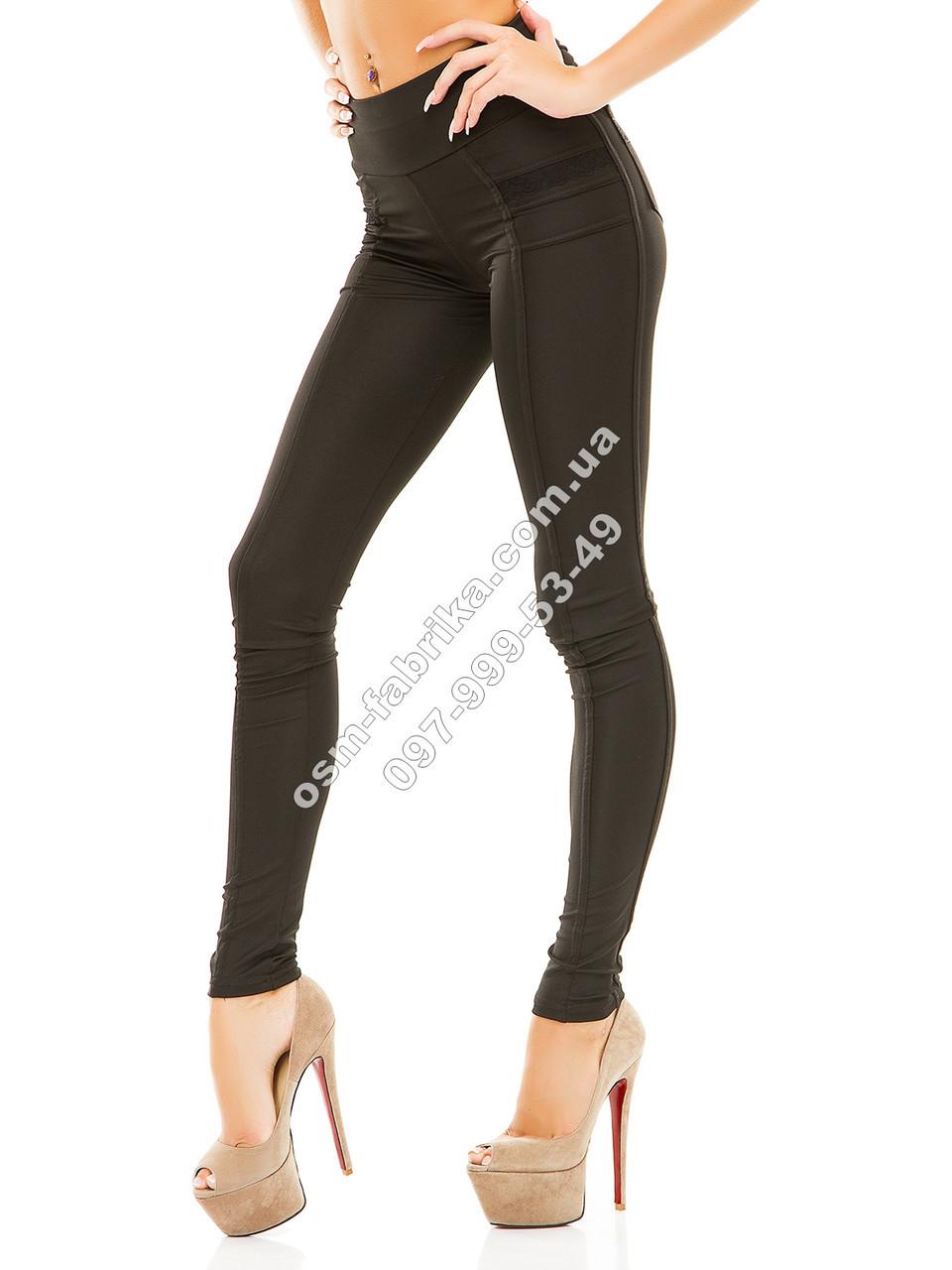 Облегающие лосины классика черные сзаду с карманами, фото 1