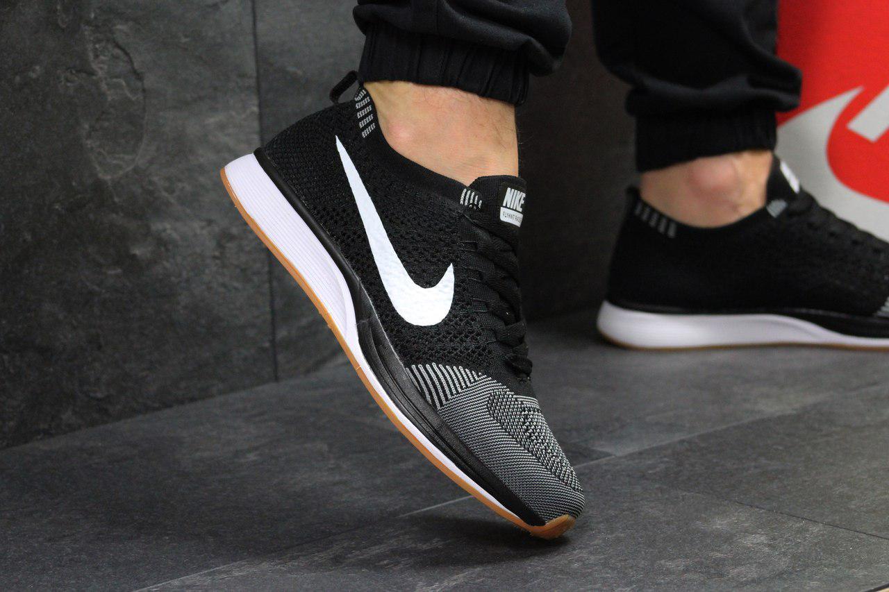 Кроссовки мужские Nike Flyknit Racer (серые с черным), ТОП-реплика
