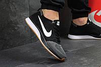 Кроссовки мужские Nike Flyknit Racer (серые с черным), ТОП-реплика, фото 1