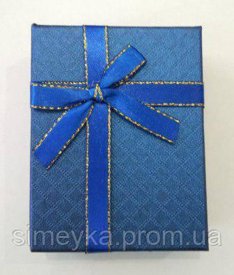 Коробочка подарункова з синім бантиком 7 см * 9 см.