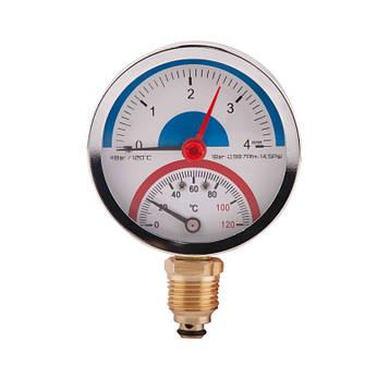 SD Термоманометр нижн. подкл.1/2 Ø80мм 120ºC 4 бар   SD1724B