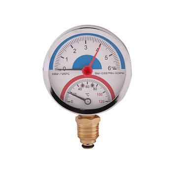 SD Термоманометр нижн. подкл.1/2 Ø80мм 120ºC 6 бар   SD1726B