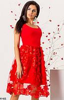 Нарядное платье миди юбка пышная без рукав сетка 3 д красное