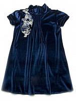 Детское нарядное платье для девочки Бархат  Темно-синее 122 Модный карапуз (03-00547-4)