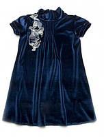 Детское нарядное платье для девочки Бархат  Темно-синее 116 Модный карапуз (03-00547-4)