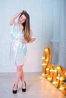 Женский сатиновый халатик на запах по выгодным ценам