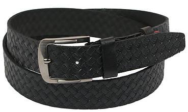 Мужской кожаный ремень под джинсы Skipper 1104-38 черный 3,8 см