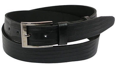 Мужской кожаный ремень под джинсы Skipper 1105-38 черный 3,8 см