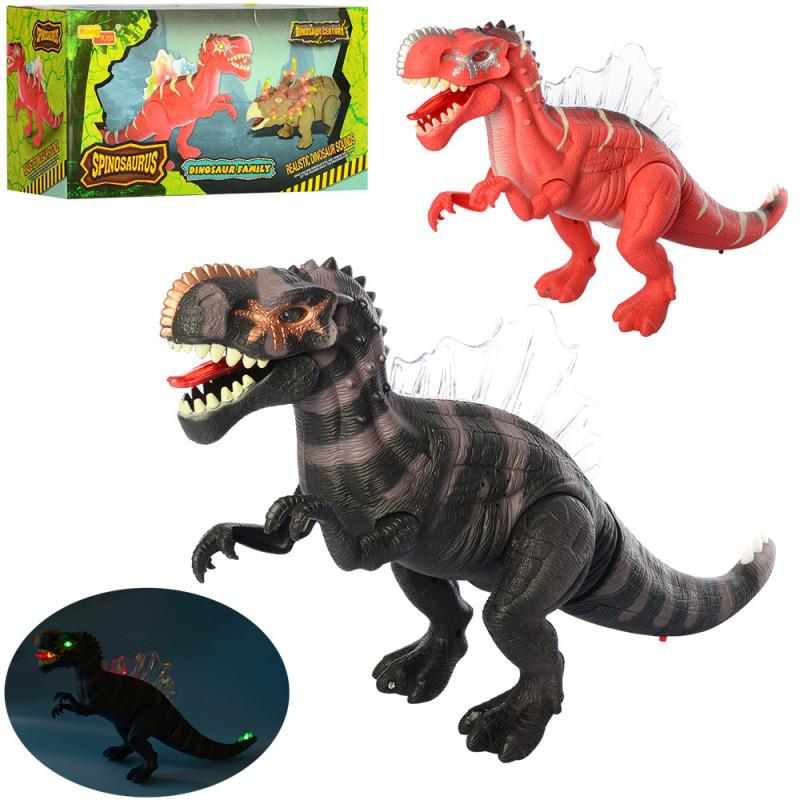 Игрушка динозавр 45 см ходит, двигает челюстью, звуковые и световые эффекты 6630, Животные динозавр