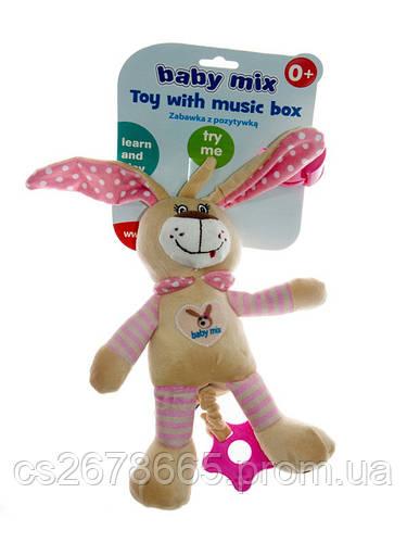 Подвеска музыкальная Кролик розовый 7505 Baby Mix