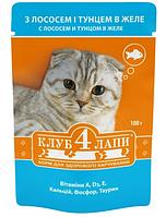 Пауч корм для котов Клуб 4 лапы Лосось в желе 0.1 кг
