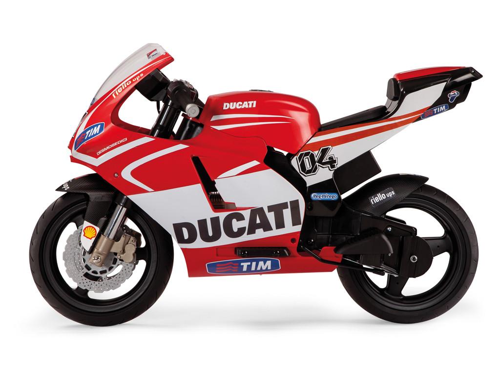 Детский мотоцикл Peg Perego Ducati GP 12V с дополнительными колесами, мощность 340W