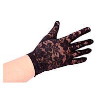 Гипюровые перчатки, черные