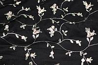 288. Ткань сетка вышивка гладью черная (обработано с одной стороны), фото 1