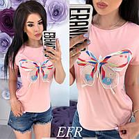 Женская футболка с бабочкой Расцветка, фото 1