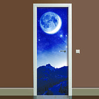 Наклейка на дверь Космос, (полноцветная фотопечать, пленка для двери)