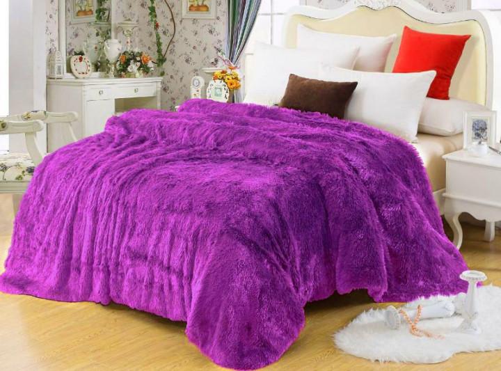 Теплое меховое покрывало фиолетового цвета от производителя, фото 1