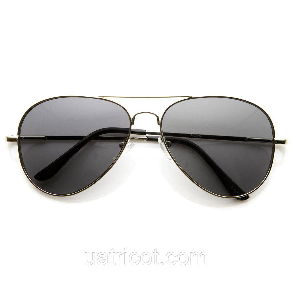 Мужские классические солнцезащитные очки авиаторы в серебряной оправе со смоки линзой