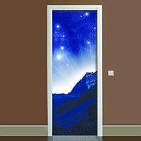 Наклейка на дверь Космос 01, (полноцветная фотопечать, пленка для двери)
