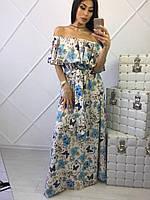 Платье в пол с открытыми плечами и воланом