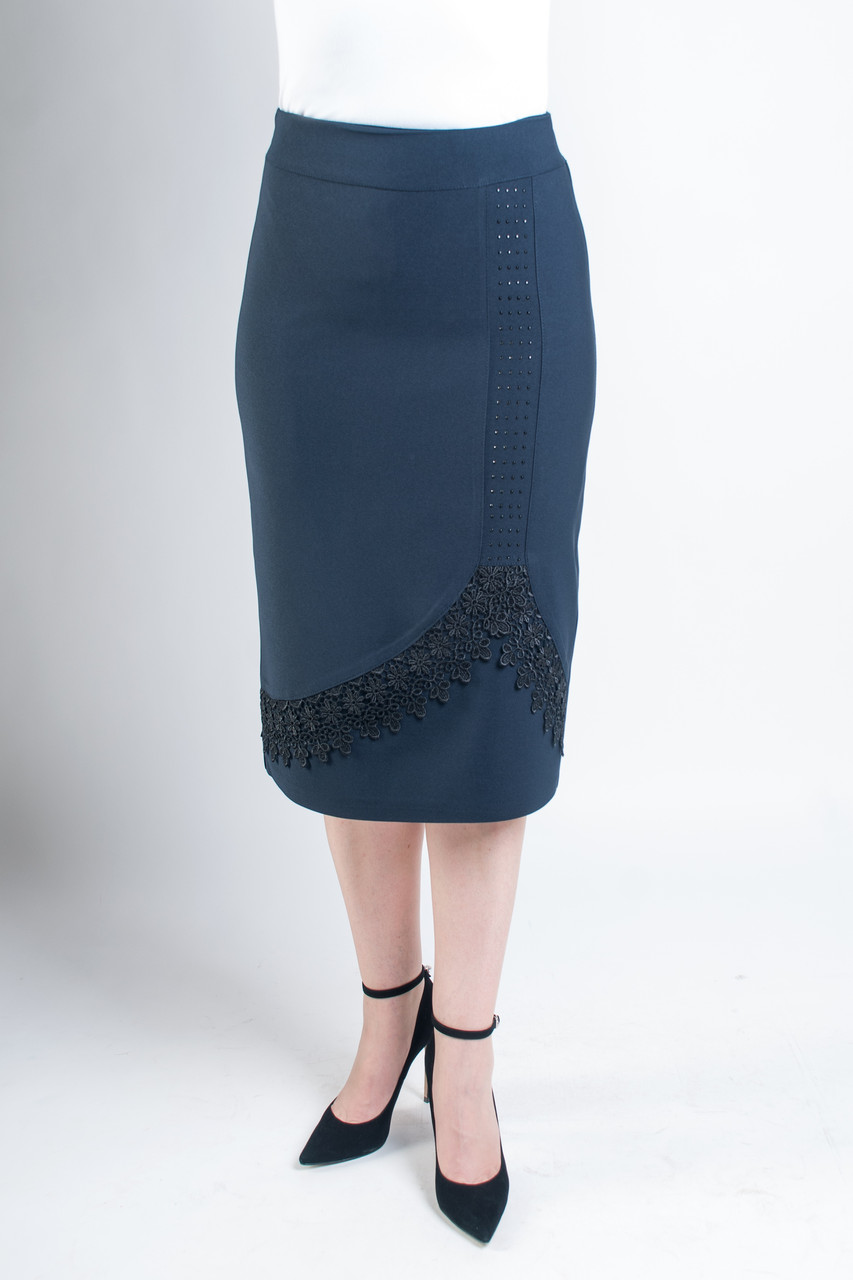 Женская юбка Анастасия синего цвета с ажуром