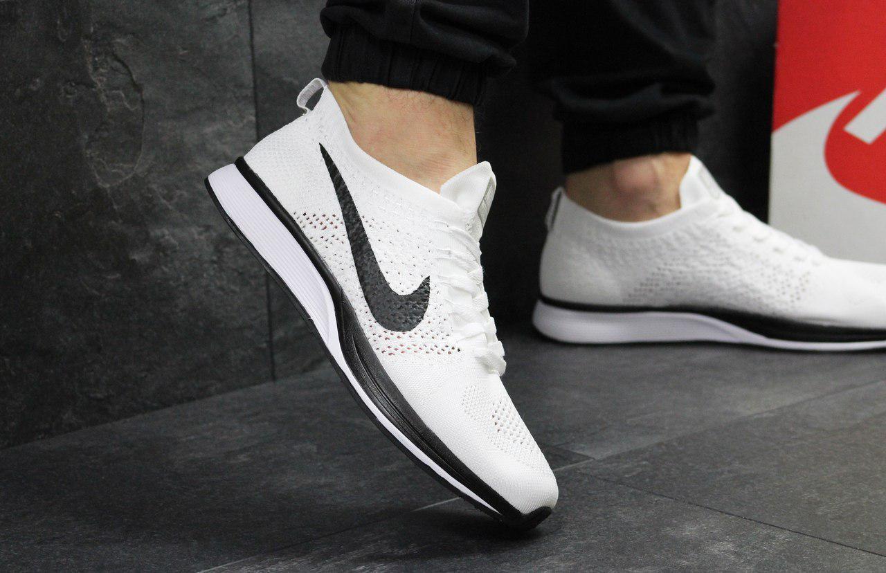 Кроссовки мужские Nike Flyknit Racer (белые), ТОП-реплика