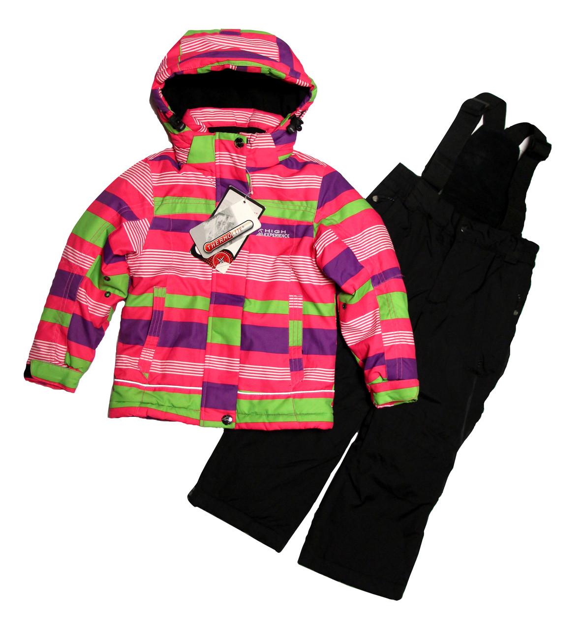 Термокомбінезон зимовий для дівчинки 3-х років HIGH EXPERIENCE в смужку
