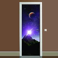 Наклейка на дверь Космос 03, (полноцветная фотопечать, пленка для двери)