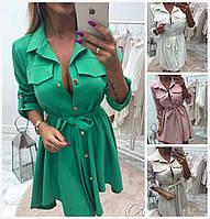 Платье с карманами на пуговицах 16255, фото 1