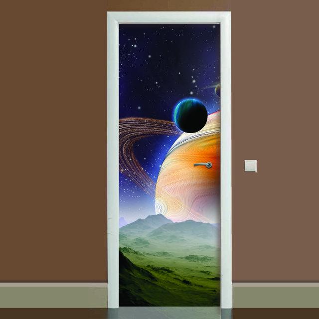 Наклейка на дверь Космос 04, (полноцветная фотопечать, пленка для двери)