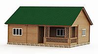 Дом деревянный сборный из профилированного бруса с верандой 7,8х9,5 м