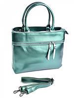 Женская кожаная сумка с карманом на молнии F-229 жемчужно-зеленый, фото 1