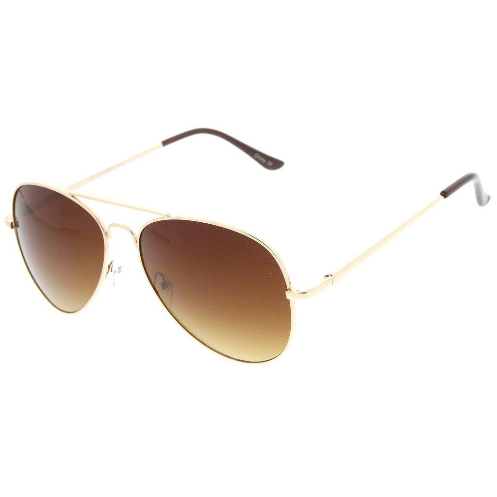 Мужские классические солнцезащитные очки авиаторы в золотой оправе с коричневой линзой