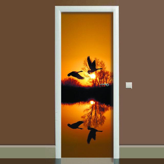 Наклейка на дверь Журавли, (полноцветная фотопечать, пленка для двери)
