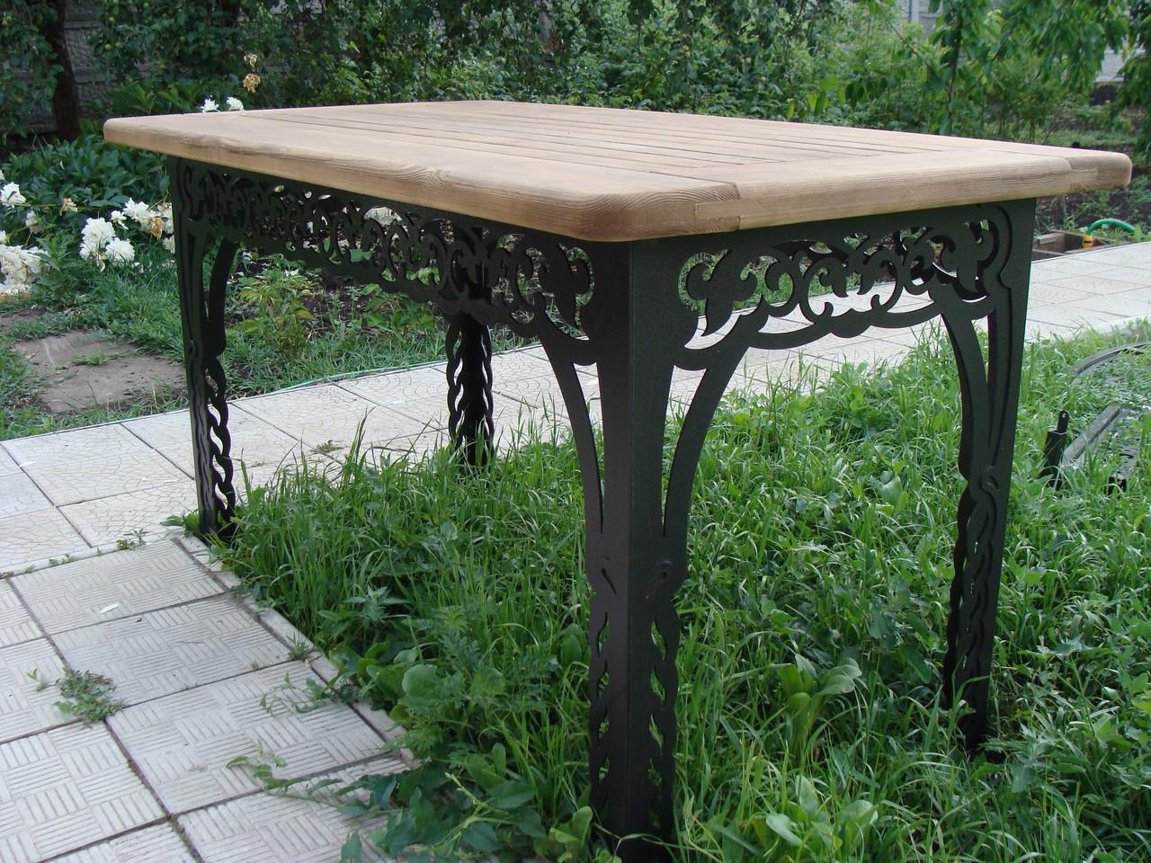 Стол садовый декоративный, из дуба, 200см, цвет черный/коричневый