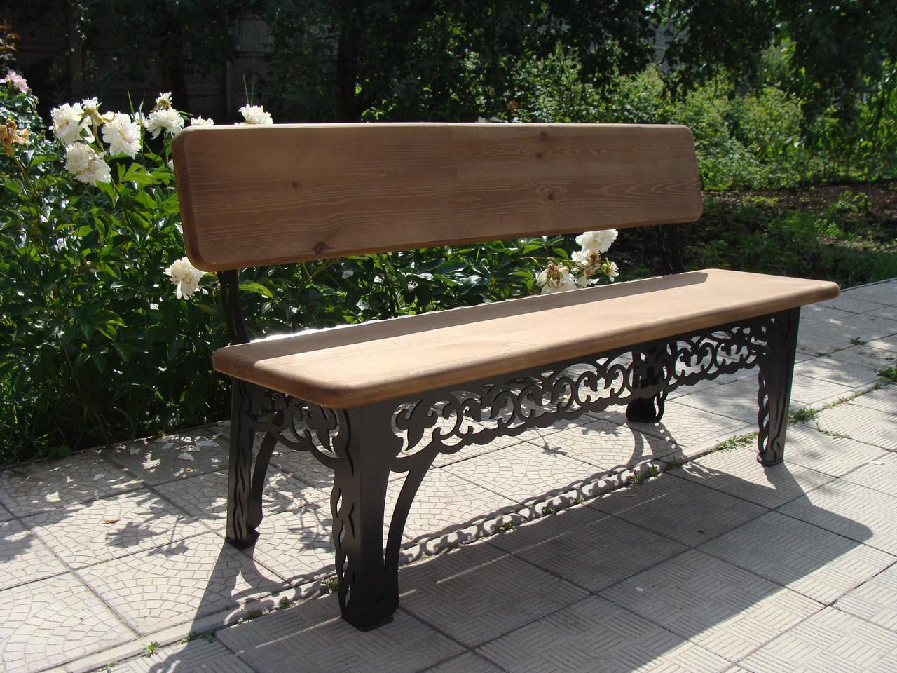 Лавочка садовая декоративная, из дуба, 200см, цвет черный/коричневый