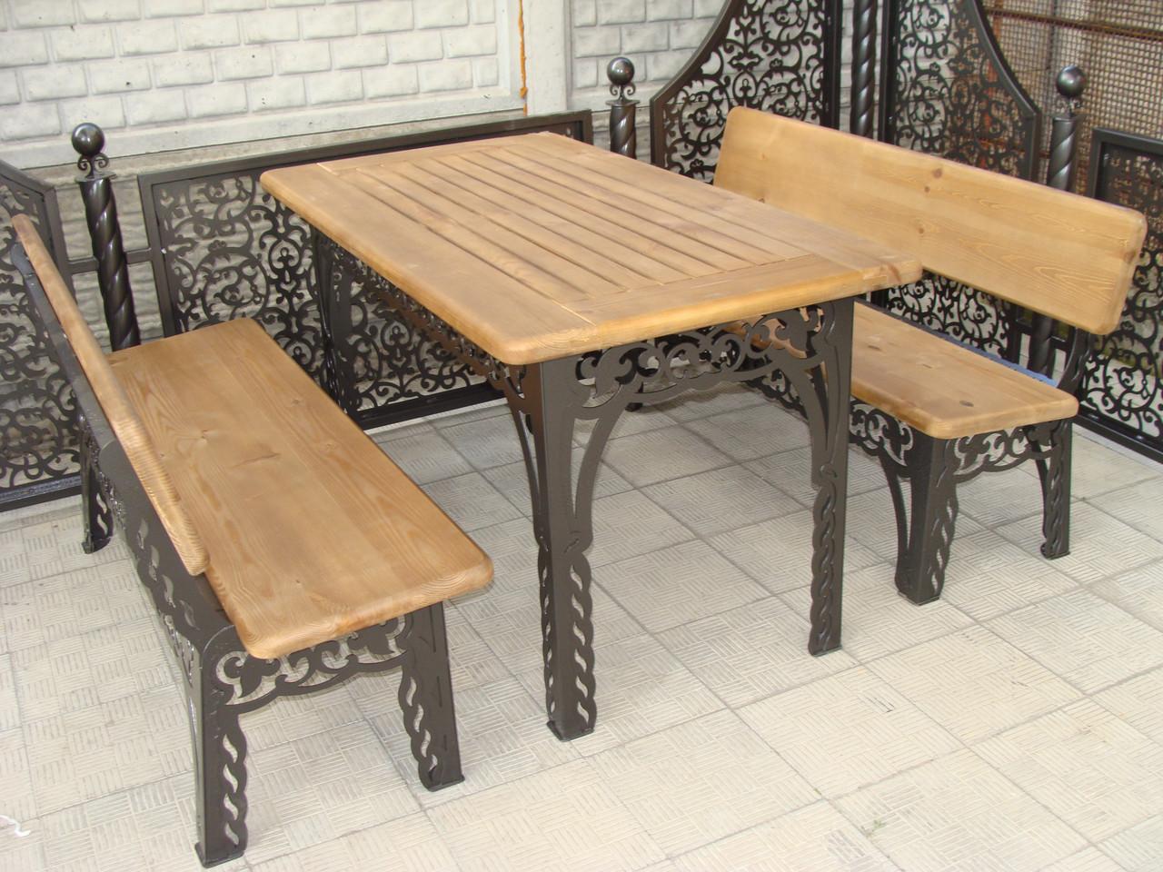 Набор садовой мебели, материал основы - дуб, 200 см, цвет черный/коричневый