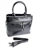 Женская кожаная сумка с карманом на молнии F-229 черный, фото 1