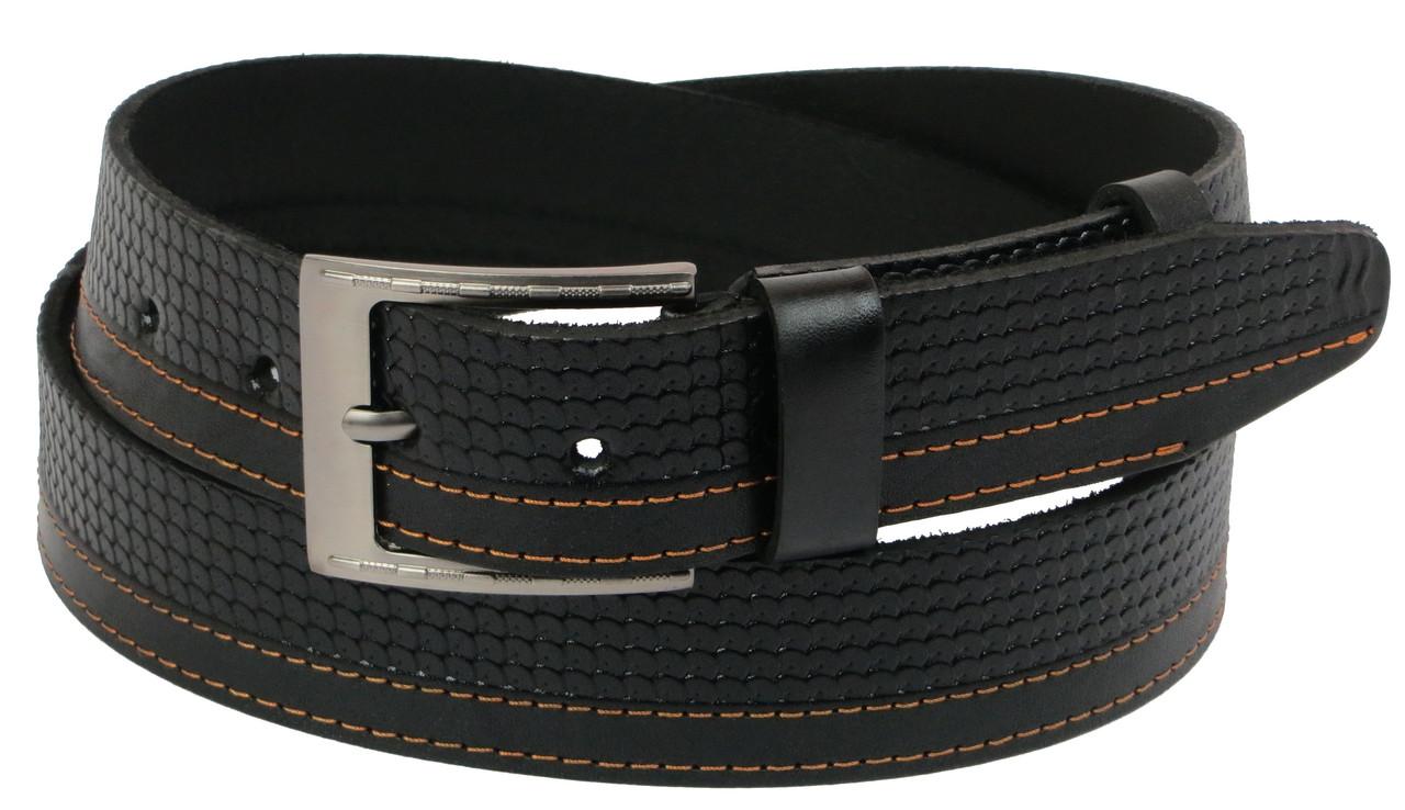 Мужской кожаный ремень под джинсы Skipper 1121-38 черный 3,8 см