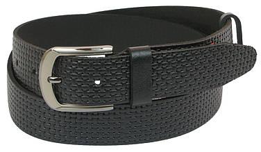 Мужской кожаный ремень под джинсы Skipper 1058-40 черный 4 см