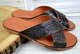 Мужские кожаные шлепки коричневые