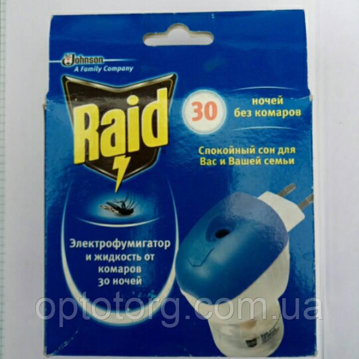 Комплект фумигатор и жидкость без запаха на 30 ночей Raid Рэйд не товарный вид, фото 1
